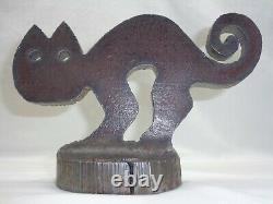 Vtg Scaredy Cat Doorstop Art Déco MCM Brutaliste Métal Sculpture Hubley Era