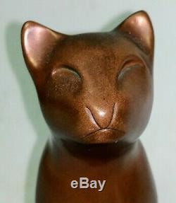 Vtg Signée Sculpture Bronze Mint Dewitt Art Déco Cat MCM Statue En Bronze Figurine